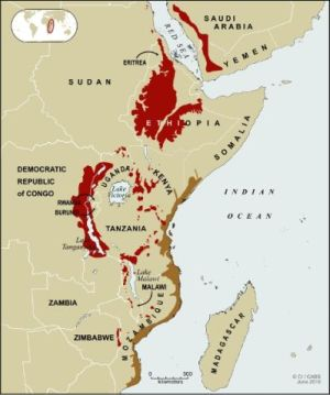 Map of Eastern Afromontane Biodiversity Hotspot - copyright Conservation International